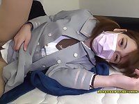 Fabulous chick in mask servicing rigid shaft in bed