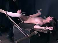 Teen brunette slave in high heels Shae Celestine abused and tied up