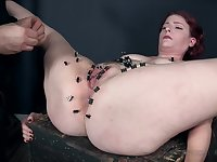 Redhead nerdy slave Kel Bowie tortured with clamps and a fat dildo