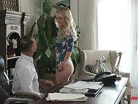Blonde Kate Kennedy gets double penetrated at a job interview