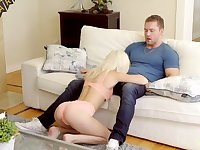 Slutty blond haired step-sis Kiara Cole wanna ride strong cock today