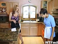 MILF babes team up on a younger guy and make his dick explode