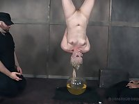Mature submisive slut Dresden forced to pee in a bucket before abuse