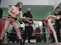 Tied up blondie gangbang in boxing gym
