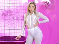 Barbie doll Abella Danger spreads her legs to show her tiny holes before hard anal sex