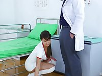 attractive nurse Suzi Rainbow gets her cunt pounded by a handsome doctor