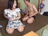 Japanese MILF Mikoto Yatsuka sucks dick and gets doggy fucked