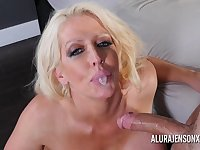 Busty blonde pornstar Alura Jenson loves having her throat fucked.