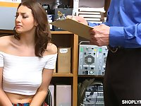 Lubricious babe Bella Rolland is punished in the back room for shoplifting