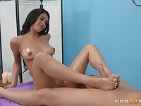 Naked oiled up masseuse sits on his dick and rides