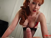 Busty British redhead MILF Red riding a cock