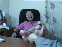 Mature staff tickle