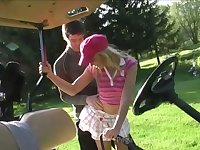 Horn-mad golf player Candy Kiss is eager to suck delicious cock outdoors