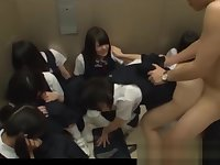 Jav Schoolgirls In Elevator Ambushed One Girl Shamed And Fucked In Front Of Her