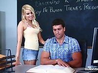 Slutty blonde whore Vanessa Cage swallows cum in a classroom