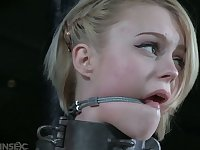 Pallid whore in metal collar Anna Tyler deserves some weird masturbation
