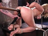 Blonde bdsm sub toyed in pussy while hogtied by maledom