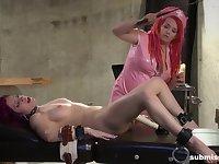 Lesbian femdom fetish scene with Mistress Irony abusing Cheri Rose