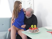 Ugly bearded pervert eats and fingers juicy pussy of lusty fresh gal