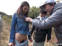 Cute looking Japanese village gal Maki Hojo is poked missionary and doggy