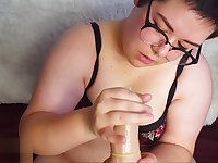BBW POV Dildo Condom Blowjob with Cum Play and Swallowing