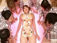 Japanese lesbians group eating orgy (Nyotaimori)
