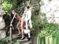 African babe gets filled with white rod outdoors