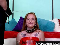 Sassy redhead throated and pissed on