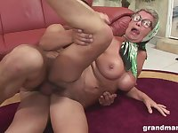 Granny with big tits fucked hardcore and gets cum on her glasses