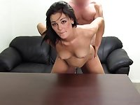 Brunette hottie gives dude a hard casting fuck on couch