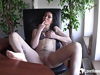 Lonely babe at the office decides to fap