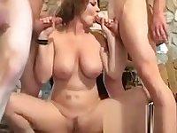 DP gangbang for mature slut