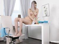 Busty blonde girl inserts stiff toy in warm solo XXX
