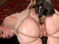 Master anal toys slave in fishnet socks
