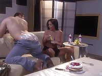 After Alexis Love gets herself oiled up she enjoys rough sex