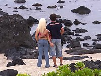 Outside sex at the beach is amazing adventure for horny blonde Jemstone