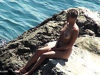 Blonde girl next door masturbate outdoor