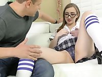 Lusty nerdy chick Gracie May Green teases clit with toy during steamy sex
