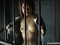 Asian prisoner Rio Haruna gives a good blowjob to one kinky dude