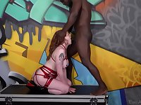 Black man throats redhead and cums on her face and tits