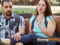 New swingers interact for the first time