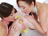 Tiffany Doll and Sheena Shaw adore a threesome and lesbian licking