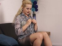 Alone blond head Cindy never minds flashing tits and nice bum