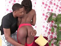 Horny ebony Ashley Licks sits on a friend's fat penis with her pussy