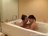 Salacious lesbian girls make out erotically at the bath till they orgasm