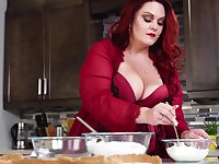 Mouthwatering BBW Alexa Grey is making love with her husband on the kitchen table