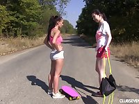 Outdoor lesbian pussy licking with amateurs Nicole Love and Daphne J