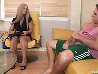 Milf Candy decides that her client needs some dick loving attention