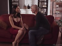 Adorable babe in red dress Aidra Fox gets her pussy fucked by bald headed guy