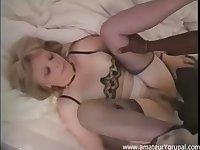 Group sex with blonde MILF and insane nigger